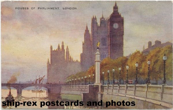Houses Of Parliament, art postcard